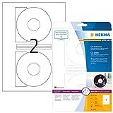 HERMA Etichette per CD, Ø 116 mm, Etichette Adesive A4 per Stampante, 2 Etichette per Foglio, Bianco