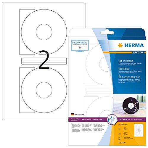 HERMA 4849 CD-/DVD-Etiketten inkl. Positionierhilfe für Inkjet Drucker DIN A4 (Ø 116 mm, 25 Blatt, Papier, glänzend) selbstklebend, bedruckbar, permanent haftende CD-Aufkleber, 50 Klebeetiketten, weiß