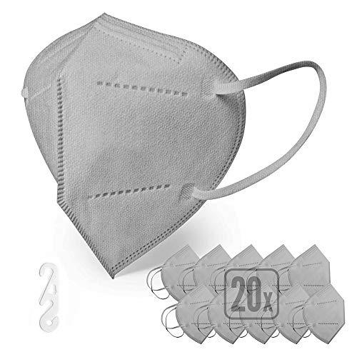 ENERGY BALANCE 20 FFP2 Maske grau, , persönliche Schutzmaske, atmungsaktiv, bequem, zertifiziert und CE-holmologiert (20-GREY)