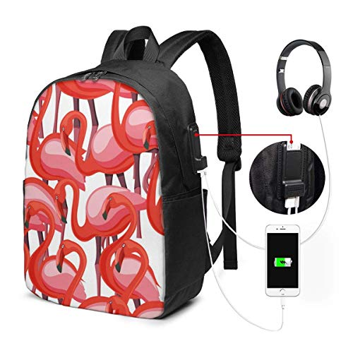 Lawenp Durable Luggage Backpacks Exotic Pink Flamingo Wading Birds Flamboyance for Business Work School with USB 17In