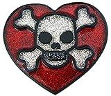Marcas de corazón plateado con diseño de calavera, diseño de...