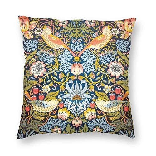 AEMAPE Fundas de Almohada, Fundas de Almohada cuadradas Decorativas de pájaros con Flores de otoño, Fundas de Almohada Suaves y sólidas para sofá, sillón, Cama, 18 x 18 Pulgadas