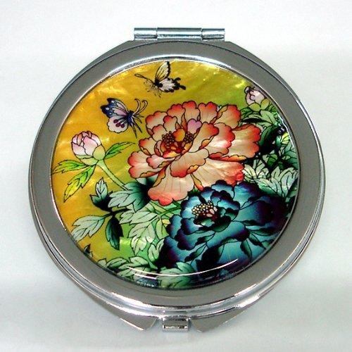 Specchio a Mano Foglie Verdi in Madreperla Specchio Per Truccarsi Per Trucchi o Cosmetici Con Motivo Fiori di Peonie