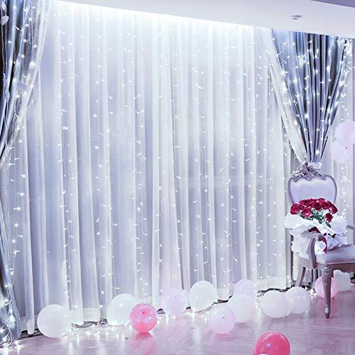 Silingsan Cortina de Luz, Cadena de Luces 600 LED 6 x 3M 8 Modos Impermeable Anticongelante para Bodas Fiesta Navidad Casa Interior Exterior Blanco Frío