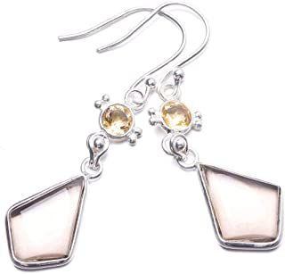 Natural Smoky Quartz and Citrine Handmade Unique 925 Sterling Silver Earrings 1 3/4