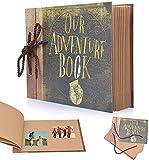 Album de Fotos, OUR ADVENTURE BOOK, Álbum de fotos hecho a mano Diy Family Scrapbook, Scrapbook (19 * 27 cm, 80 Páginas, 40 Hojas) para Aniversario Familiar Boda Cumpleaños Navidad
