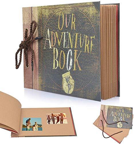 ysister Album de Fotos, Our Adventure Book, Álbum de Fotos Hecho a Mano DIY Family Scrapbook, Scrapbook (19 * 27 cm, 80 Páginas, 40 Hojas) para Aniversario Familiar Boda Cumpleaños Navidad
