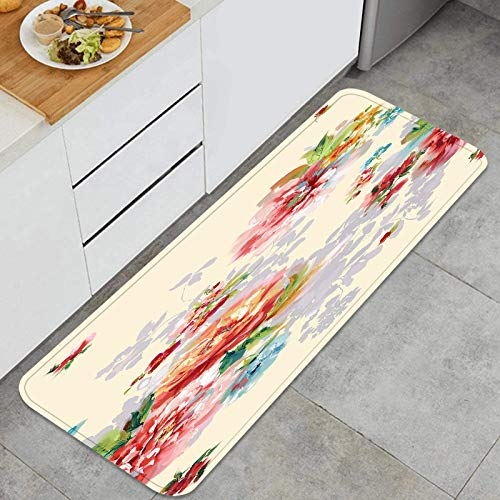 PUIO Juegos de alfombras de Cocina Multiusos,Flores de Colores Deja diseño de Arte,Alfombrillas cómodas para Uso en el Piso de Cocina súper absorbentes y Antideslizantes