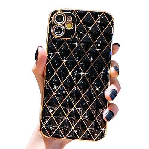 Anynve Compatible with iPhone 11 Case, Glitter Sparkle Luxury Plating Lattice Case, Camera Lens Protection Shockproof Edge Bumper TPU Cover Case [6.7 inches] -Black