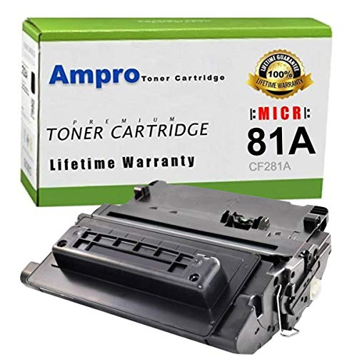 Ampro HP CF281A MICR Toner or HP 81A MICR Compatible for HP Laserjet Enterprise MFP M630h/M630dn/M630f/M630z/M604/M605/M606/M630HP (Prints 11,000 Pages or 33,000 Business Checks)