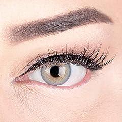 GLAMLENS lentillas de color -gris Elly Grey + contenedor. 1 par (2 piezas) - 90 Días - Sin Graduación - 0.00 dioptrías - blandos - Lentes de contacto grises de hidrogel de silicona