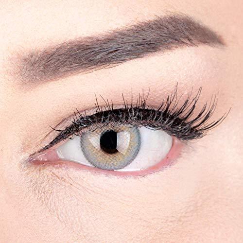 Sehr stark deckende und natürliche Graue Kontaktlinsen SILIKON COMFORT NEUHEIT farbig 'Elly Gray' + Behälter von GLAMLENS - 1 Paar (2 Stück) - DIA 14 mm - ohne Stärke 0.00