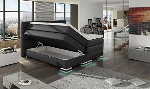 XXL ROMA Boxspringbett mit Bettkasten Designer Boxspring Bett LED Nachtschwarz Rechteck Design (Nachtschwarz, 180x200cm) - 4