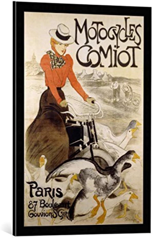 Bild mit Bilder-Rahmen  Theophile-Alexandre Steinlen Werbeplakat für Motorcycles Comiot Gedruckt bei Charles Verneau Paris - dekorativer Kunstdruck, hochwertig gerahmt, 55x80 cm, Schwarz Kante grau