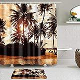 LISNIANY Conjunto De Ducha Cortina Alfombra,Hojas de Palmera Océano Paisaje Marino Rayo de Sol Hawaiano Costa Tropical,Uso en baño, Hotel