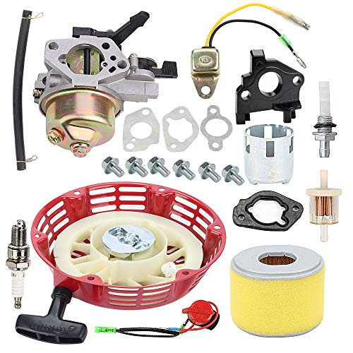 Hayskill GX290 Carburetor Carb with Recoil Starter Cup Ignition Coil Air Filter for Honda GX240 8HP GX270 9HP Engine Carb Replace 16100-ZE2-W71 16100-ZH9-W21 1616100-ZH9-820