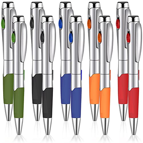 10 Bolígrafos con Luz LED Bolígrafos de Tinta Negra 1,0 de 5 Colores con Linterna Plumas Giratorias de Punta de Bola para Nñas Niños Estudiantes Escritura Firma Papelería Oficina Escuela
