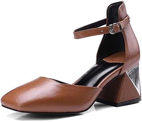 Sandalias de Cuero Nappa para damen Dulce Minimalismo Sandalias Chunky Heel Square Toe schwarz braun