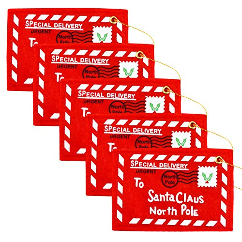 Zaleonline Weihnachtsumschlag 5 STK Fühlte Bestickte Weihnachts-Umschlag Hängende Grußkarte für Weihnachtsbaum Festliche Neujahrsdekoration Weihnachtsbaum-Verzierungen