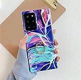 HFDJ El mármol Colorido Lase es Adecuado para la Carcasa del teléfono móvil Samsung S21 SamsungA51 / A71 con Hebilla de Anillo Protectora de Cuerpo Completo (D Samsung A50)