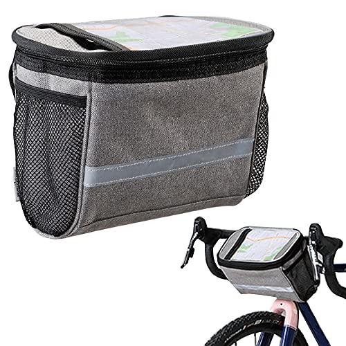 Bolsa Manillar Bicicleta, Bolsa Bicicletas De Carretera, MTB Bicicleta Bolsa Delantera, Pantalla Táctil De PVC y Tiras Reflectantes para Almacenar Artículos y Manipular GPS, Soportes para Mapas