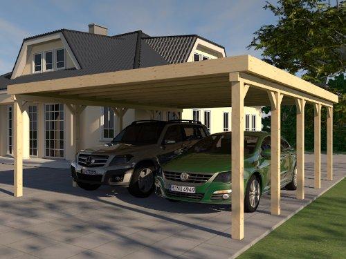 Tettoia piatta per auto Avus VI 600x 700cm, struttura in legno massiccio per edilizia
