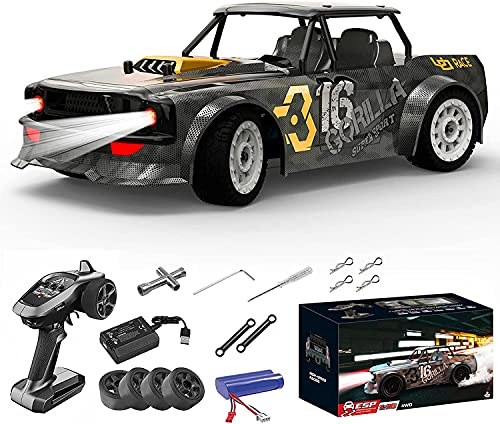 Supdex RC Drift Racing Cars, 1/16 Scale Remote Control Race Cars, 2.4GHz 4WD ESP Configuration with Headlights RC Street Off Road Fast Hobby Grade RC Drifting Trucks for Adults and Kids