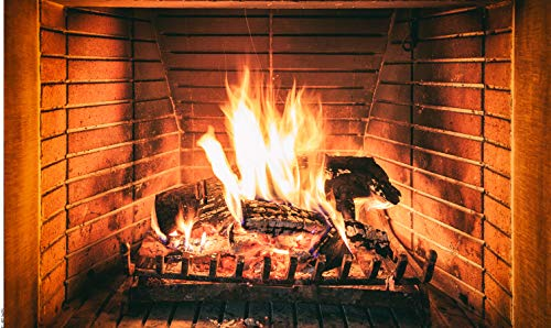 Dudaacvt 5x3ft Christmas Fireplace Theme Backdrop Burning Firewoods Photo Backdrop Large Fireplace Flaming Woods Camping Poster Outdoor Travel Barbeques Party Photography Background D437
