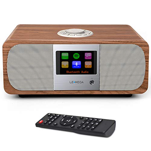 LEMEGA M3+ 20W Stereo Internet FM Digital Radio with Wi-Fi, Bluetooth, Built-in Subwoofer, USB, Aux & TFT Colour Display – Walnut