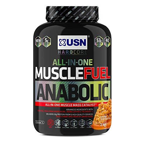 USN Muscle Fuel Anabolic Muscle Gain Shake Powder, Caramel Popcorn, 2 kg
