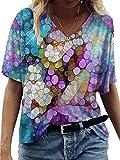 Wsgyj52hua 2021 Verano Estilo Europeo Y Americano con Cuello En V Estampado Pintado De Manga Corta Camiseta Casual Mujer