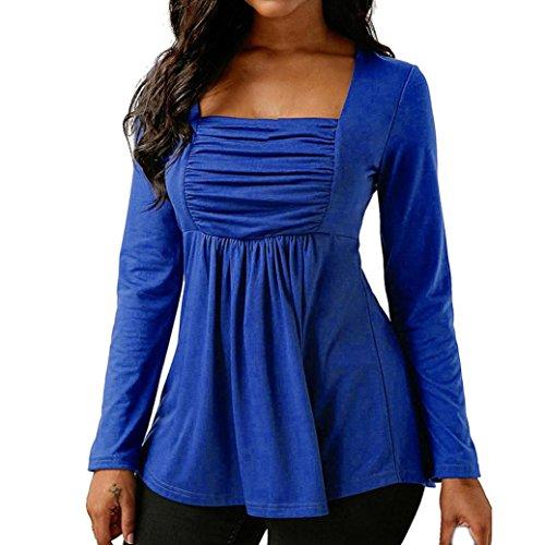 Camisa Mujer Blanca Verano Azul, Covermason Mujeres de Moda Casual Manga Larga Acanalada Cuello Cuadrado Tops Blusa(L, Azul)