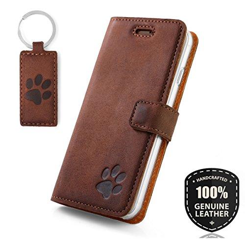 Pfote - Hülle Premium Vintage Ledertasche Schutzhülle Standfunktion Wallet Case aus Echtesleder Nubukleder Farbe Nussbraun für Samsung Galaxy S7 G930