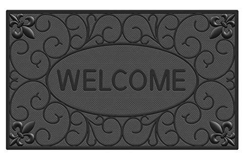 Fußmatte Gummi 45 x 75 cm Außen Innen Schwarz | Fussmatte Aussenbereich mit Noppen | Design Abstreifer Modern | | Matte Eingangsbereich | Fussabstreifer Schuhe | Fußabstreifer Haustür | Welcome