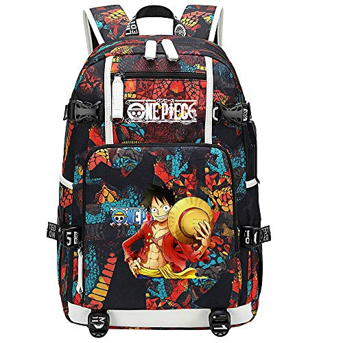 ZZGOO-LL One Piece Monkey·D·Luffy/Roronoa Zoro Anime Backpacks Student School Bag Laptop Backpack with USB Charging Port-B