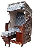 Single Strandkorb Karibik aus zertifiziertem Pinienholz mit Abdeckhaube und Strandkorbrollen Luxus-Sitzpolster Royal Anthrazit inklusive Lieferung komplett einsatzbereit
