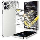 EGV Compatibile con iPhone 12 Pro MAX 6.7 Pulgada Protector de Pantalla,3 Pack Cristal Templado e 3 Pack Protector de Lente de Cámara Transparente