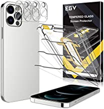 6 Pack EGV 3pcs Screen Protector & 3pcs Camera Lens Protector Compatible with iPhone 12 Pro 5G 6.1-inch, 9H Hardness Tempered Glass, Easy Installation Tray, Case Friendly, HD Ultra-Thin