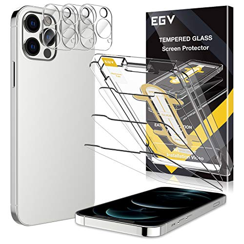 EGV 6 Stück Schutzfolie Kompatible mit iPhone 12 Pro Max 6.7 Zoll, mit 1 Stück Null Fehler Positionierhilfe,3 Schutzfolie und 3 Kamera Schutzfolie, 9H Härte, HD Klar Displayschutzfolie, Transparent