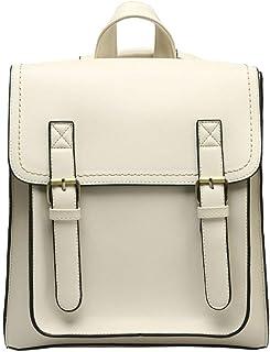 Retro Fashion Women's Backpack Travel School Shoulder Bag Daypack (Color : White)
