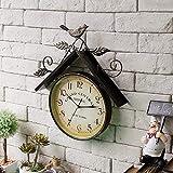 Cakunmik Reloj De Pared De Jardín Al Aire Libre, Vintage De Hierro Forjado Art Bird House Design Relojes De Jardín Decoración Colgante Reloj De Pared Metal, 41 Cm