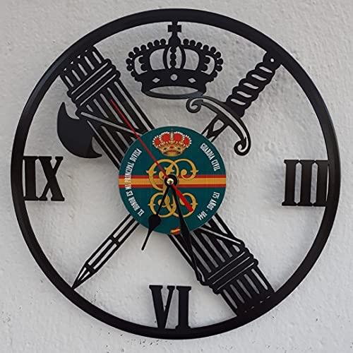 Vinywoody Escudo de Guardia Civil Reloj de Pared de Disco de Vinilo,Regalo Original Decorativo