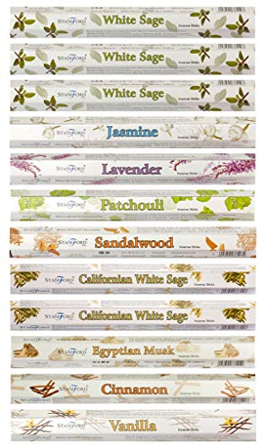 Stamford 37329 White Sage Variety Set Incense Sticks-12 Packs x 20 Sticks, Black, One Size