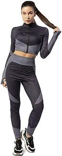 ONIEZZFOIR Plus size Color Block 2 Piece Athleisure Yoga Activewear Set Long Sleeve Zipper Crop Top High Waist Leggings Tr...