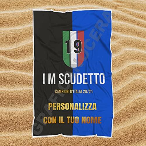 Asciugamano Telo Mare Inter I M SCUDETTO Campioni d'Italia 20/21 con Nome Personalizzato idea regalo (100cm X 160cm)