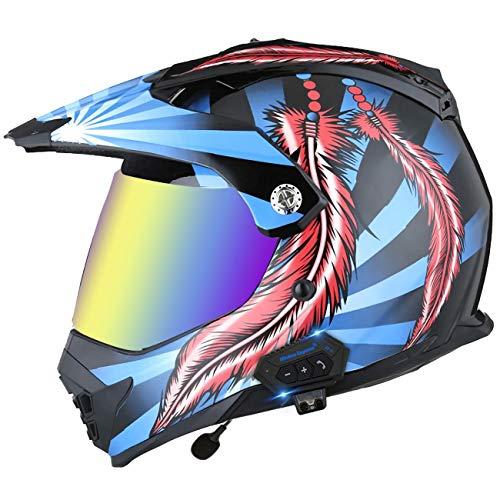 ZLYJ Casco De Motocross con Auricular Bluetooth Integrado, Casco De Motocross con Doble Visera, Casco De Campo Través Cascos De Carreras De Motos De Cross ATV Certificación ECE 16,XL(61-62cm)