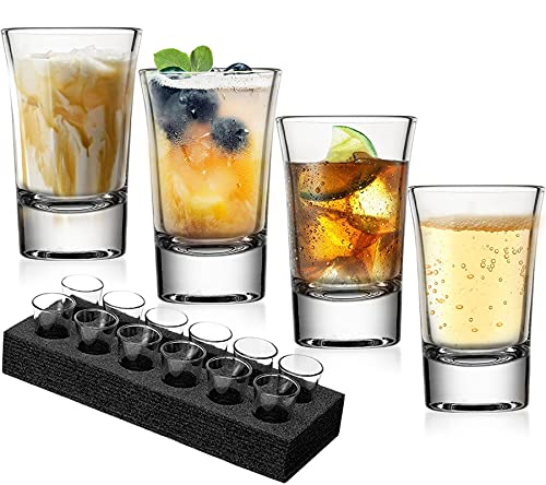 JBHO Heavy Base Shot Glass Set With Holder, Standard 1.5 Ounce,Set of 12,Giftable Packing for...