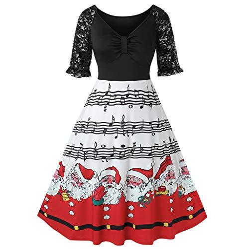 Vestido de Mujer de Manga Corta para Navidad, Elegante, Vintage, con símbolo Musical de Papá Noel, Estampado de Enaguas y Escote en V Negro XL