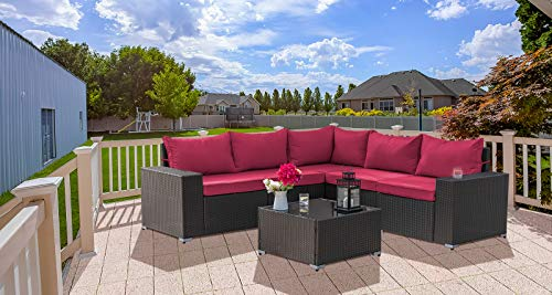 Gotland Outdoor Patio Furniture Set 6 Pieces Sectional Rattan Sofa Set Manual Wicker Patio Conversation Set with A Tempered Class Table(Dark Brown PE Wicker,Dark Red Covers)