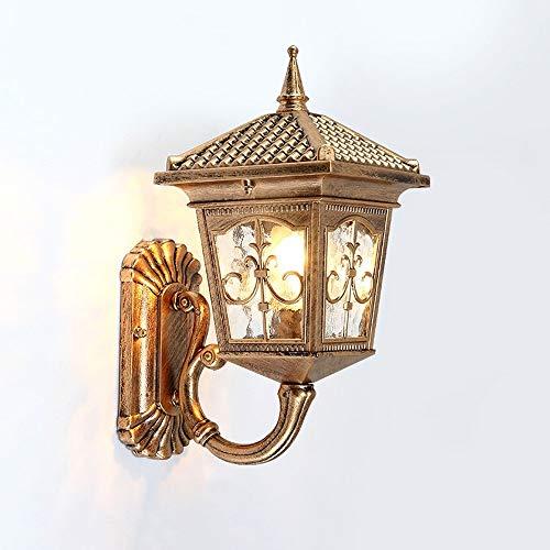 Victoria, vintage industriële waterdichte glazen lantaarn, wandlamp, klassieke traditie, brons, aluminium, metaal, buitenwandlamp, tuin, balkon, terras, E27, decoratief licht (kleur: zwart)